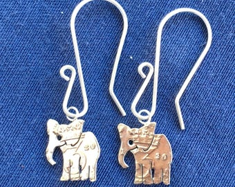 Silver Threepence Elephant Earrings