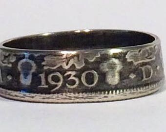 Silver Sixpence Coin Ring