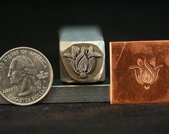 Art Deco Tulip Metal Hand Stamp