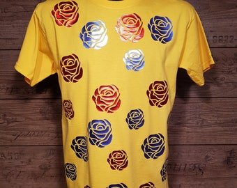 Yellow T-shirt with Roses (FREE WORLDWIDE SHIPPING)