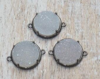Natural Druzy Gemstone Gunemetal Connector- Druzy Link