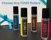 Gift Set: Choose ANY FOUR Essential Oil Roller Blends for Set of (4) - Artisan Essential Oil Aromatherapy Mood Blends - 10 mL Roller Bottles