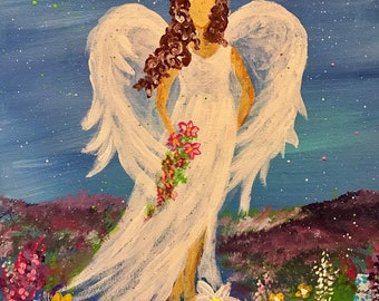 The Angel of Music Original Stretched Canvas Acrylic Painting Fine Art