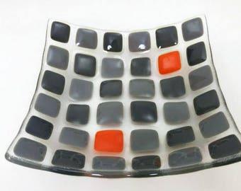 Fused glass plate, decorative plate, trinket dish, square plate, fused glass dish, functional fused plate, kitchen decor, wedding gift