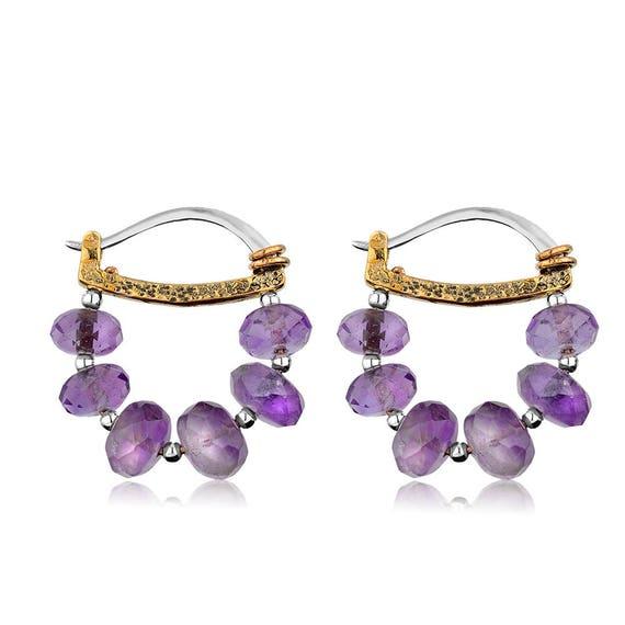 Sterling Silver Amethyst Hoop Earrings , Amethyst Earrings, Simple Earrings , Gift For Her
