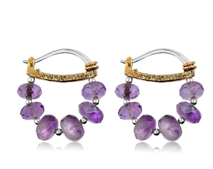 Sterling Silver Amethyst Hoop Earrings - Hammered Collection