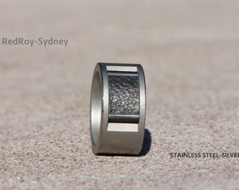 Stainless steel and silver ring, artisan jewelry, artisan jewellery, stainless steel wide ring,