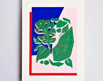 Botanic #3 Limited Edition Screen Print, Line Drawing, Hand Printed, Fashion Illustration, Fashion Wall Art, Floral Print, Floral Art