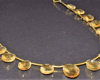 """Natural Citrine Faceted Pear Briolettes,Citrine Gemstone Bead, Citrine Pear Shape Briolette -Faceted Loose Beads, 9"""" Long Strands, 9x7-14x9."""