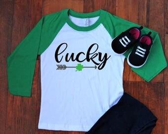 Boho Lucky baseball tee | girls St Patrick's Day shirt | St Patrick's day shirts | girls outfit | kids St. Patrick's Day shirts | lucky girl