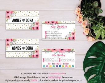 Agnes Dora Business Cards, Agnes and Dora Punch Card, Floral Flower Agnes Dora, Agnes Dora Marketing, Wooden Background, Printable AG12