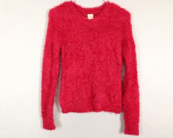 Red fuzzy glittery long sleeve top size S