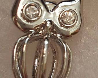 Sterling Silver  Owl with Rhinestone eyes Pearl Cage Pendant