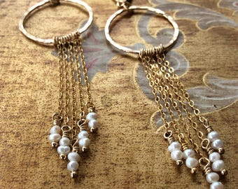 Gold Filled Fringe Earrings With Freshwater Pearls-Gold and Pearl Fringe Earrings-Boho Chic Dangle Earrings-Bridal Earrings-Bridal Jewelry