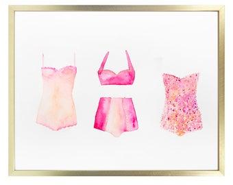 summertime art vintage swimsuit watercolor pink nursery artwork printable