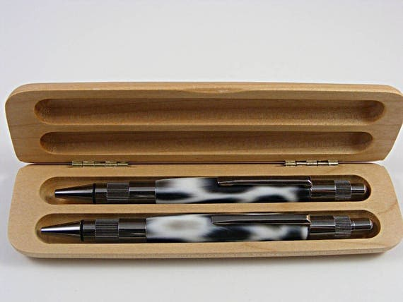 Pen and Pencil Set in Gun Metal and Snow Leopard