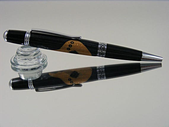 Inlayed Ink Pen in Chrome with Guitar Inlay