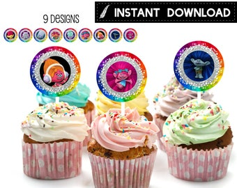 Instant Download - Trolls Cupcake Topper Birthday Party Favor Tag Stickers DIY - Digital File