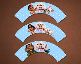 Personalized Moana Cupcake Wrappers Birthday Party Baby Moana Maui Pua Heihei Pink Bokeh Baby Blue Polka Dots Printable DIY - Digital File