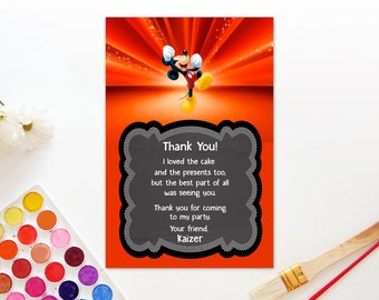Personalized Mickey Mouse Thank You Card First 1st Birthday Party Baby Shower Red Chalkboard Printable DIY - Digital File