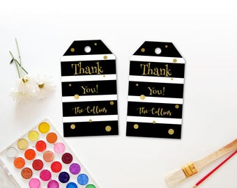 Personalized Black and White Stripes Thank You Tag Gold Dots Accent Baby ShowerParty  Gift Tag Favor Tags Printable DIY - Digital File