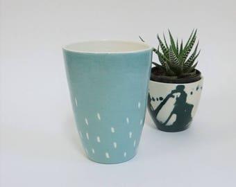 Mug without Handle, Tumbler Mug, Mug Dot, Tea and Coffee Mug, Coffee Mug No Handle, Ceramic Mug without Handle, Handmade Mug Unique Mug Gift