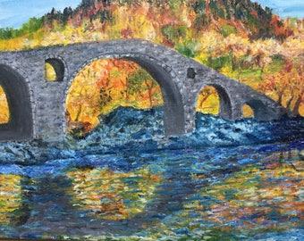 reflection of bridge in river, oil on canvas  board