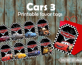 Cars Favor Tags, Cars Tags, Cars Party Tags, Cars Gift Tags, Cars Thank You Tags, Cars Pintable Favor Tags, Cars Birthday Party, Cars Labels