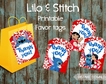 Lilo and Stitch Favor Tags, Lilo and Stitch Gift Tags, Lilo and Stitch Thank You Tags, Lilo and Stitch Labels, Lilo and Stitch Birthday