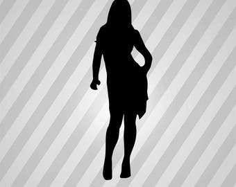 Woman Silhouette  - Svg Dxf Eps Silhouette Rld Rdworks Pdf Png Ai Files Digital Cut Vector File Svg File Cricut Laser Cut