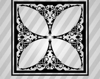 Frame Ornament Silhouette - Svg Dxf Eps Silhouette Rld Rdworks Pdf Png Ai Files Digital Cut Vector File Svg File Cricut Laser Cut