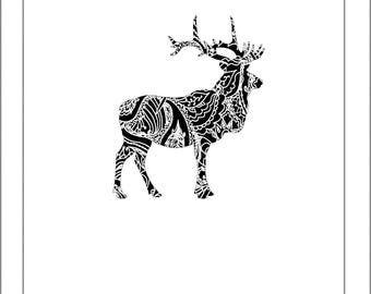 Elk Silhouette - Papercut Template Paper Cut Silhouette Pdf Line Art Cut Files