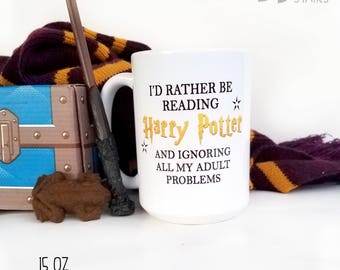 I'd Rather be Reading Harry Potter Mug, Harry Potter Coffee Cup, Funny Harry Potter Gift, Nerdy Mug, Reading Cup, Coffee and Tea Mug