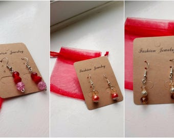 Drop earrings Autumn set 2 red and orange