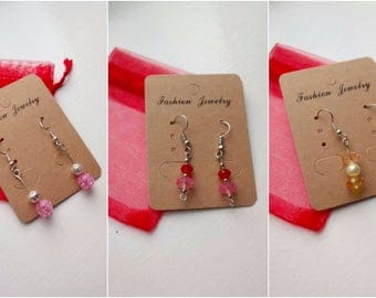 Pink drop earrings set 3