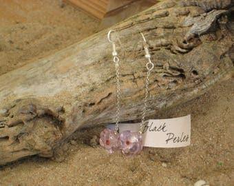 Earrings pink flower glass