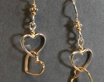 Mixed metal double heart earrings handmade, sterling silver, 14k. goldfilled, handmade earwires