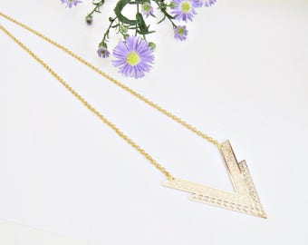Alea ethnic chic gold plated necklace with inverted triangle bib