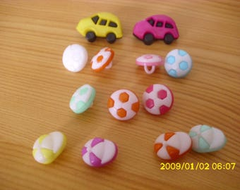 set of buttons plastic color and various shapes