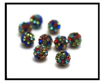 X 2 beads shamballa 10mm, black and multicolor rhinestone crystal.