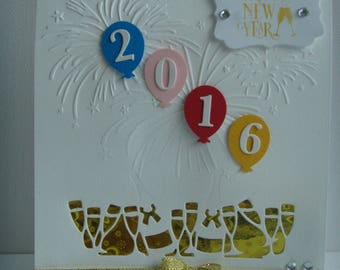 """Kit white greeting card """"HAPPY NEW YEAR 2016"""" chin chin to make you even"""