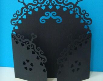 Iron gate card forged half circle black heart ornaments