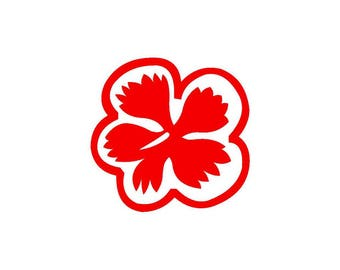 Hibiscus red vinyl sticker shiny height 9.5 cm (glass exterior, ref: I).