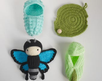 Butterfly doll and crochet accessories