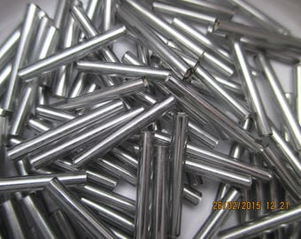 Black Diamond Silver Lined 20 mm 20 g - tube beads with seed beads