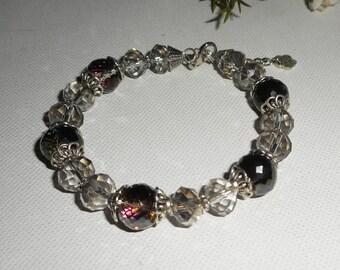 Grey Crystal beaded bracelet