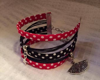 Jewelry Ribbon cuff Bracelets and charms of Red Black