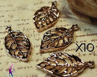 10 pendants charms leaf charms 28x13mm gold metal filigree