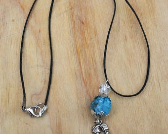 Choker necklace turquoise beads and transparent, couple of children