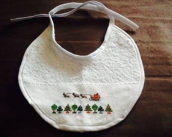 Terry bib white Santa sleigh